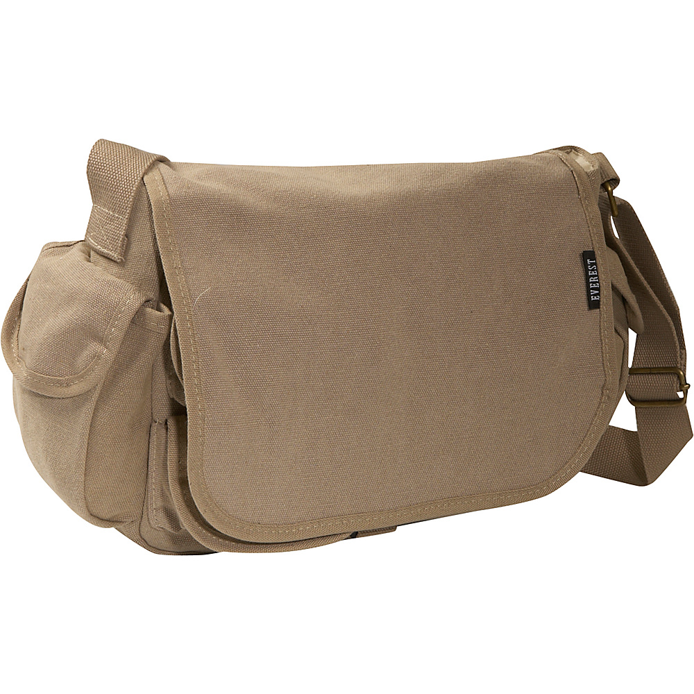 Everest Cotton Canvas Messenger Bag - Khaki - Work Bags & Briefcases, Messenger Bags