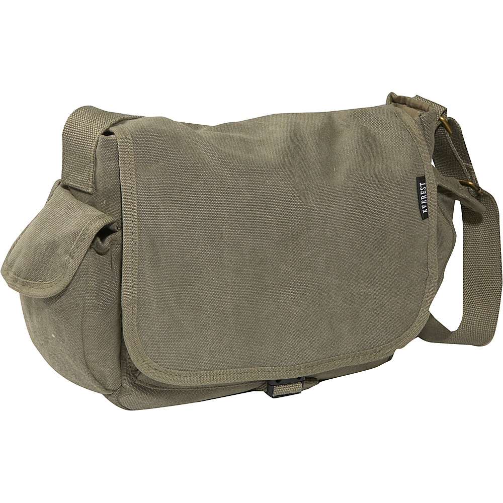 Everest Cotton Canvas Messenger Bag - Olive