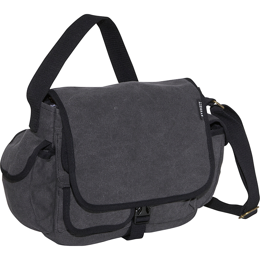 Everest Cotton Canvas Messenger Bag - Charcoal - Work Bags & Briefcases, Messenger Bags