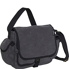 Cotton Canvas Messenger Bag Charcoal
