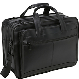 Leather Expandable Briefcase Black