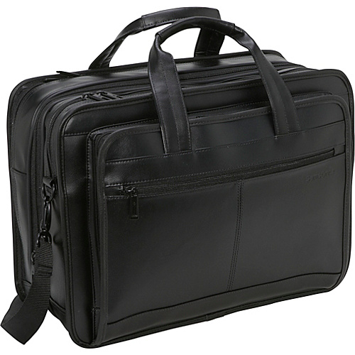 Samsonite Leather Expandable Briefcase - Black