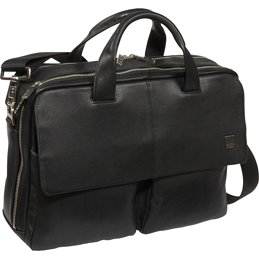 Knomo Warwick 15 Leather Laptop Briefcase - Black - Work Bags & Briefcases, Non-Wheeled Business Cases
