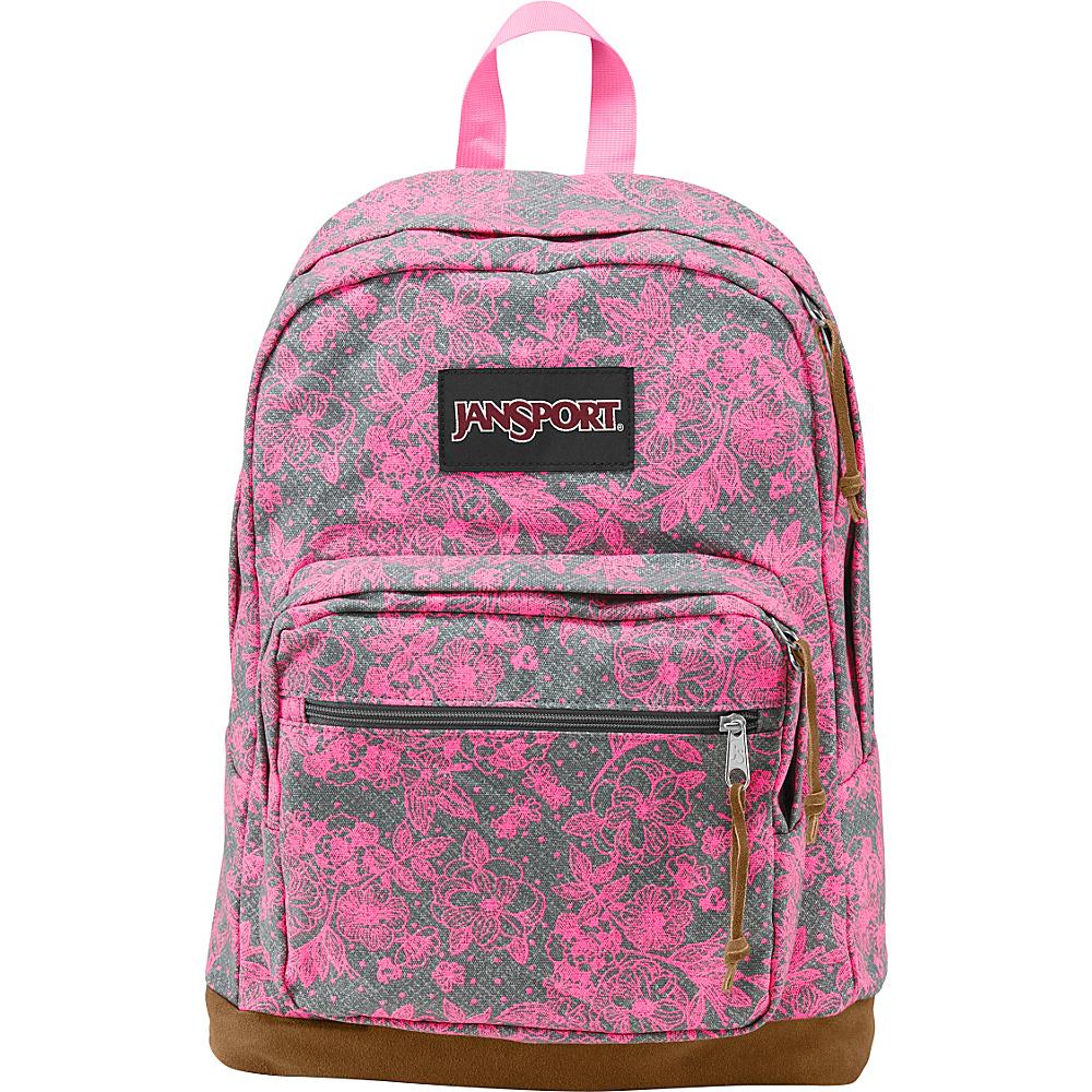JanSport Right Pack Laptop Backpack Shady Grey Vintage Bloom - Expressions - JanSport Laptop Backpacks - Backpacks, Laptop Backpacks