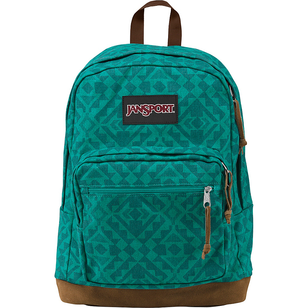 JanSport Right Pack Laptop Backpack Moonlit Teal Canvas Abstract Angles - Expressions - JanSport Laptop Backpacks