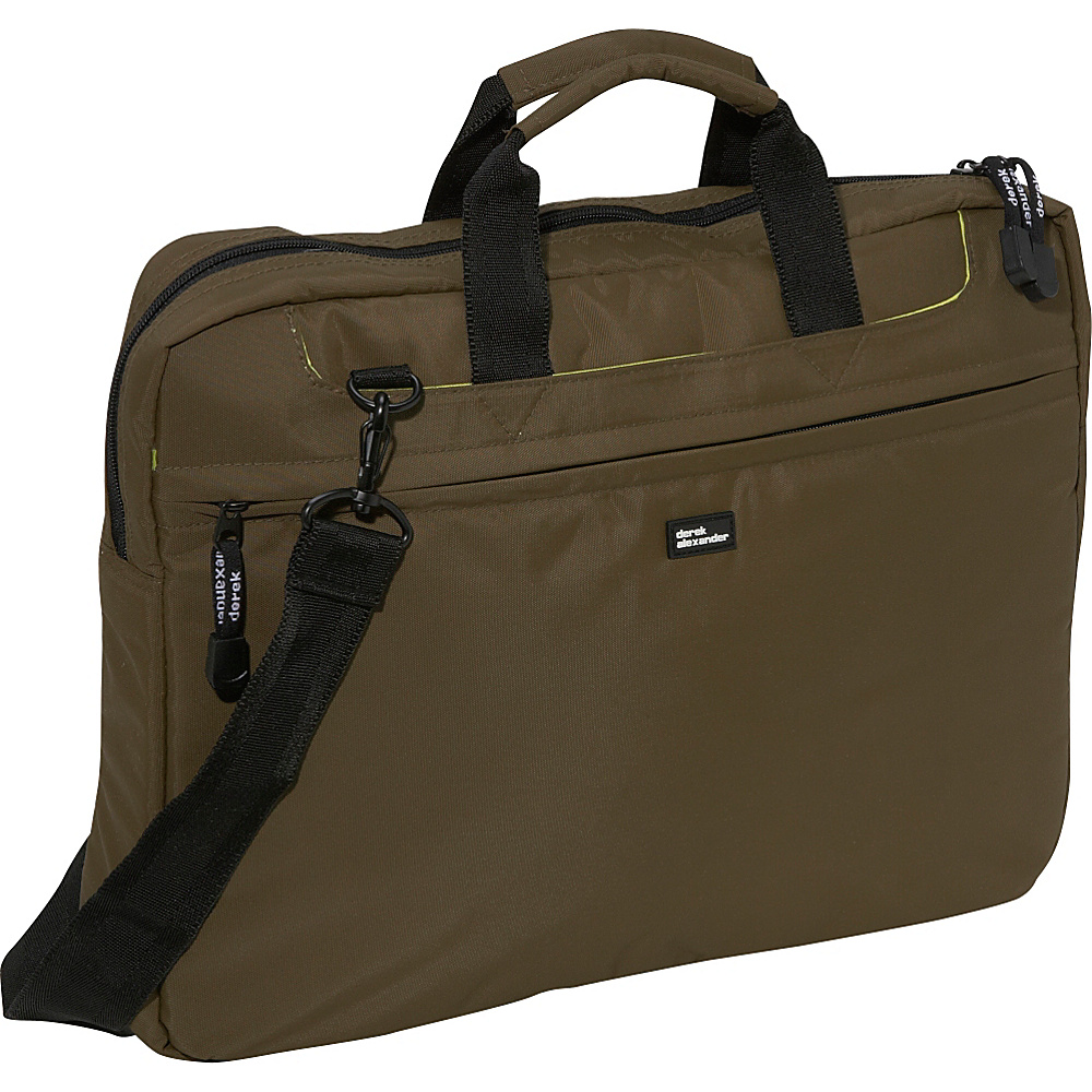 Derek Alexander Slim Computer Brief - Olive - Work Bags & Briefcases, Non-Wheeled Business Cases