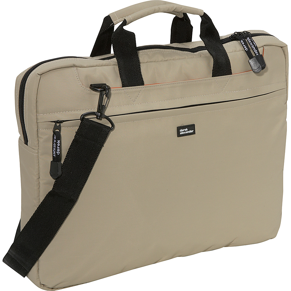 Derek Alexander Slim Computer Brief - Tan - Work Bags & Briefcases, Non-Wheeled Business Cases