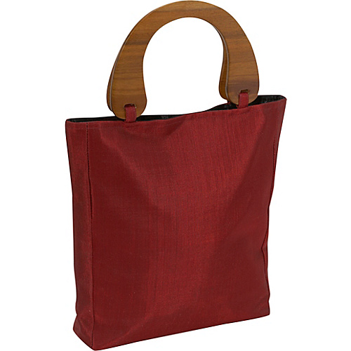 Global Elements Silk Handbag with Wood Handles - Tote