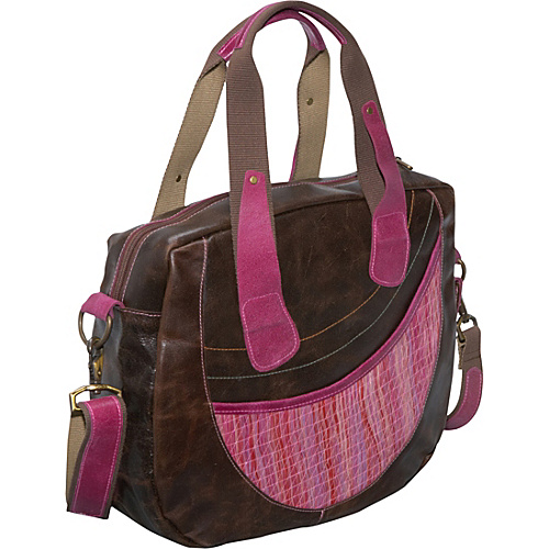 Global Elements Leather & Straw Travel Bag - Pink