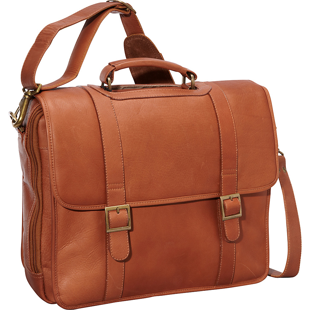ClaireChase Porthole Style Laptop Briefcase - Saddle - Work Bags & Briefcases, Non-Wheeled Business Cases