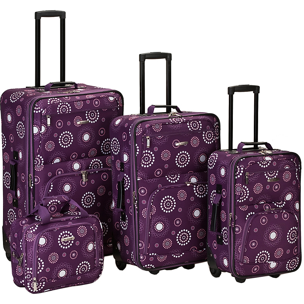 Rockland Luggage 4 Piece Nairobi Luggage Set - Puple
