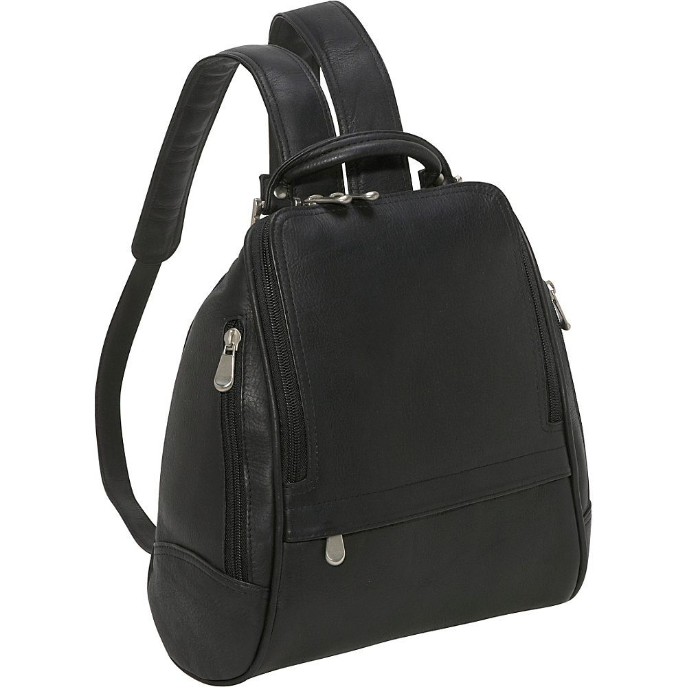 Le Donne Leather U Zip Mid Size Backpack/Purse - Black