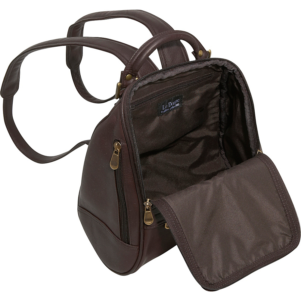 Le Donne Leather U Zip Mid Size Backpack/Purse 5 Colors Backpack ...