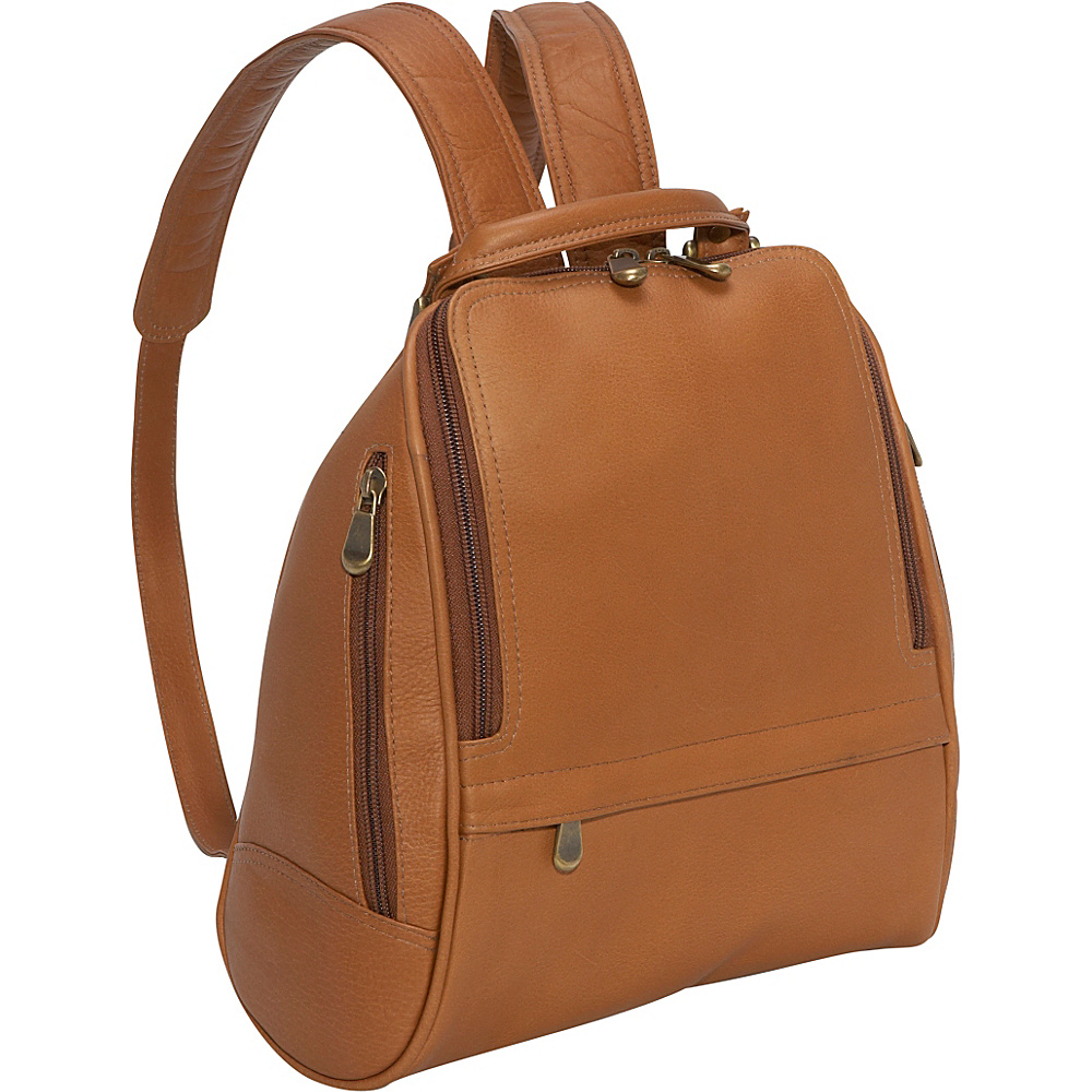 Le Donne Leather U Zip Mid Size Backpack/Purse - Tan