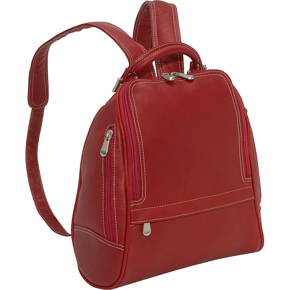 Le Donne Leather U Zip Mid Size Backpack/Purse - Red