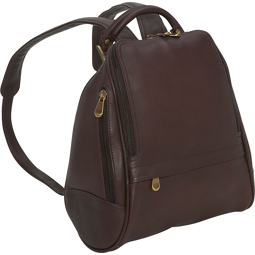 Le Donne Leather U Zip Mid Size Backpack/Purse - Caf