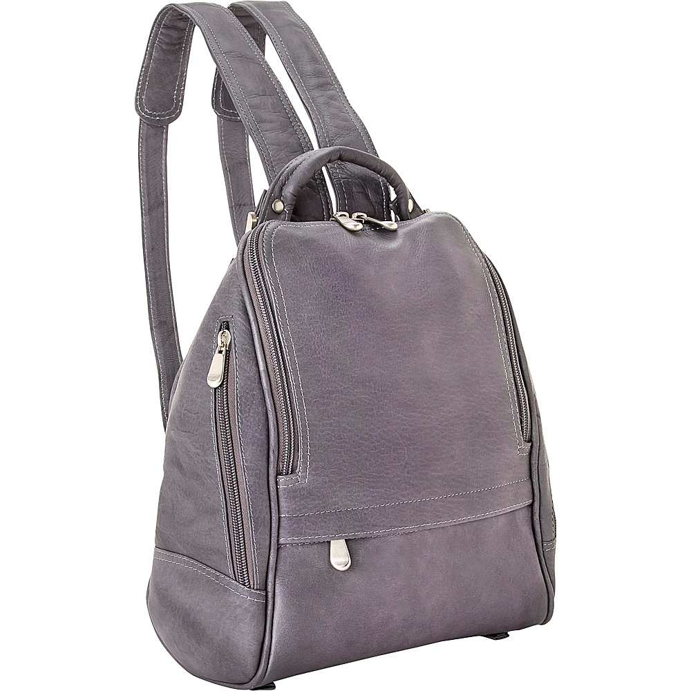 Le Donne Leather U Zip Mid Size Backpack/Purse Gray - Le Donne Leather Leather Handbags