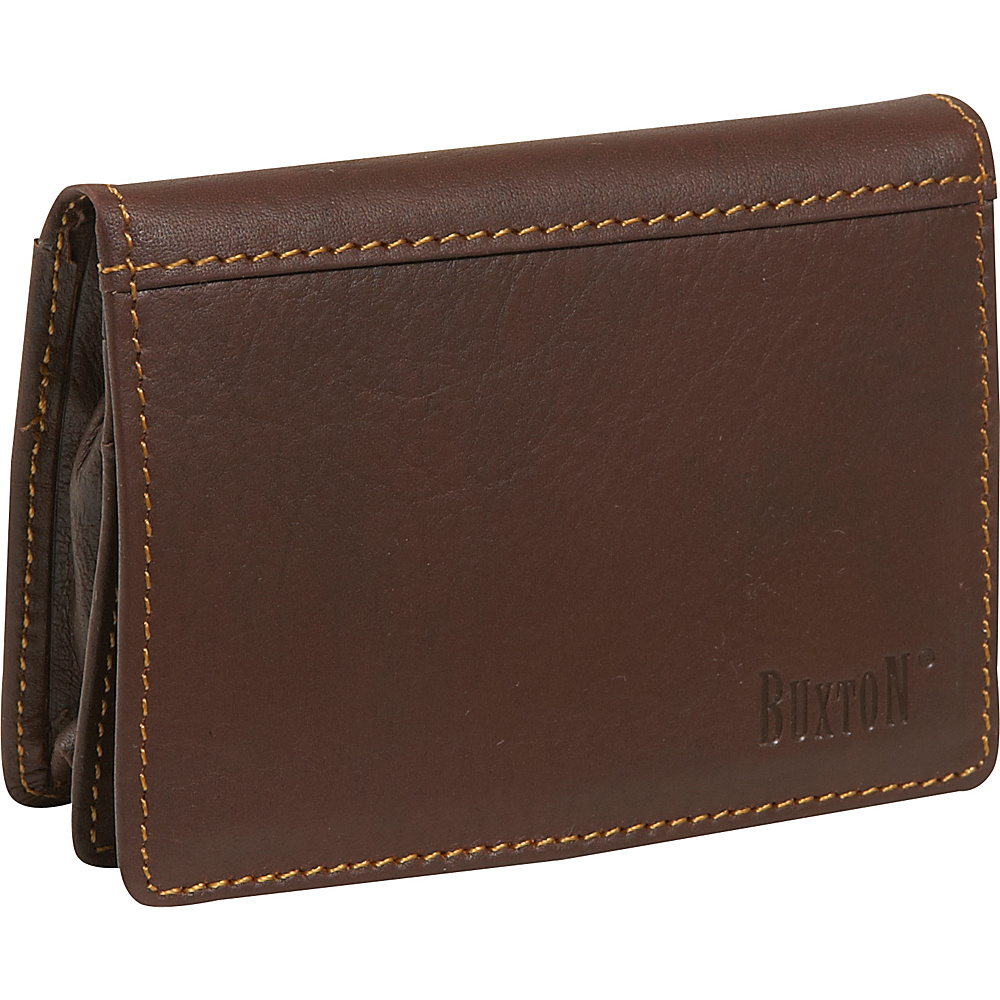 Buxton Sandokan Business Card Case - Brown - Work Bags & Briefcases, Business Accessories