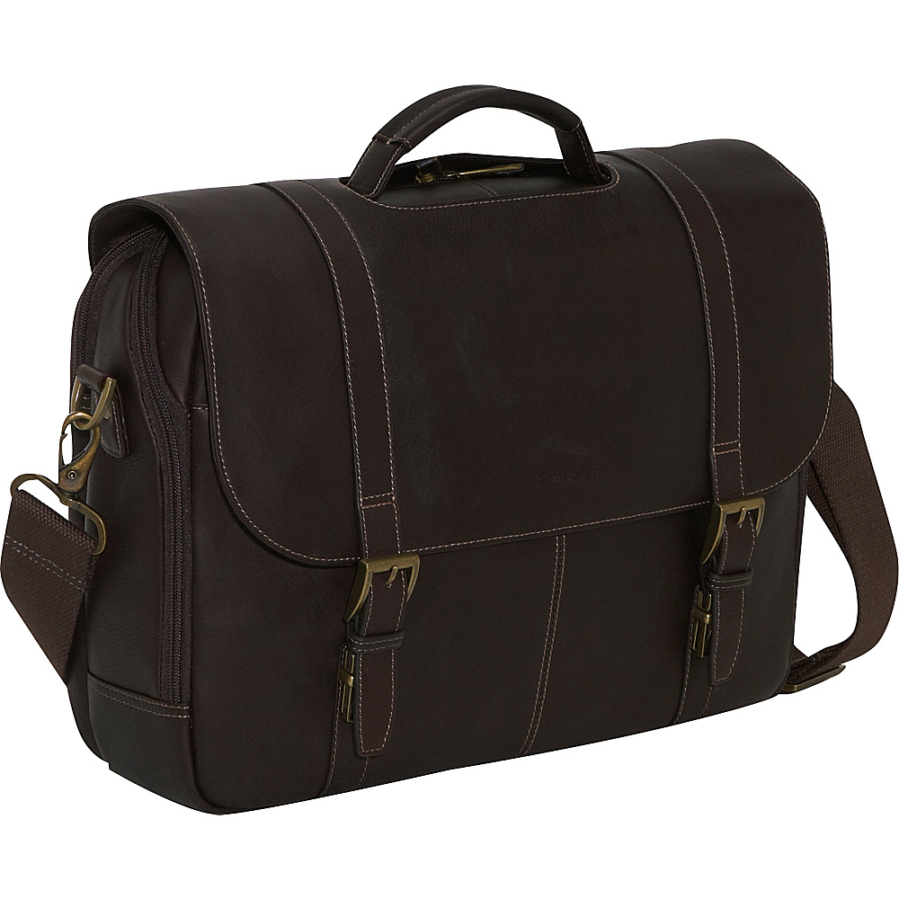 Samsonite Columbian Leather Flapover Laptop Case - Work Bags & Briefcases, Non-Wheeled Business Cases