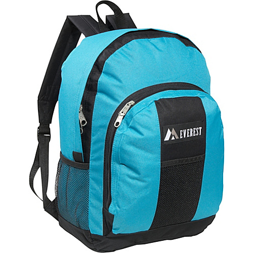 Everest Backpack with Front & Side Pockets Turquoise / Black - Everest School & Day Hiking Backpacks