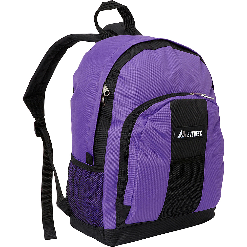 Everest Backpack with Front & Side Pockets Dark Purple / Black - Everest Everyday Backpacks - Backpacks, Everyday Backpacks