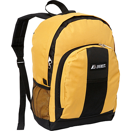 Everest Backpack with Front & Side Pockets Yellow - Everest School & Day Hiking Backpacks