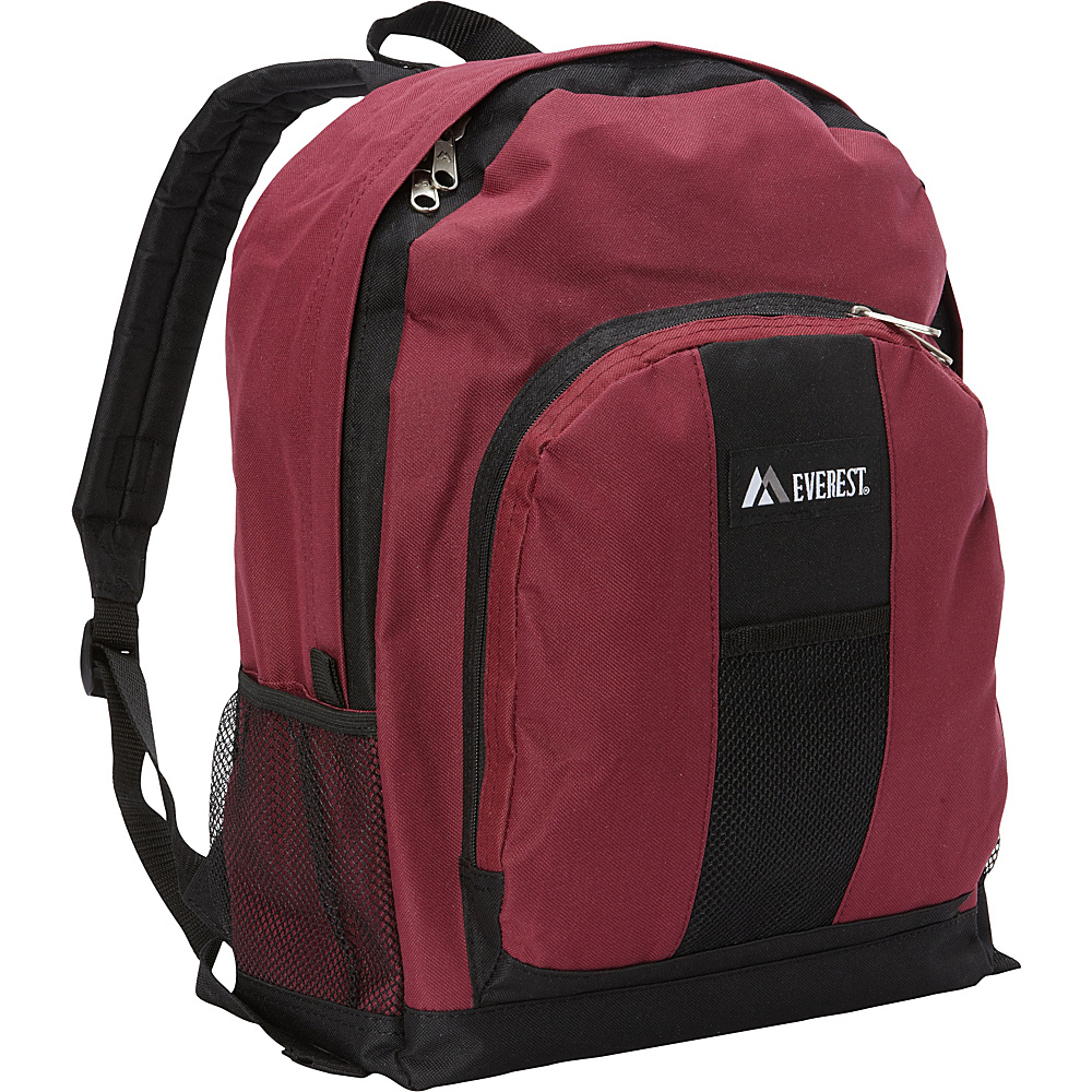 Everest Backpack with Front & Side Pockets Burgundy/Black - Everest Everyday Backpacks - Backpacks, Everyday Backpacks