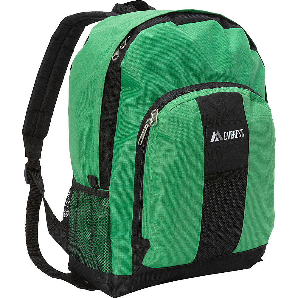 Everest Backpack with Front & Side Pockets Emerald Green/Black - Everest Everyday Backpacks - Backpacks, Everyday Backpacks