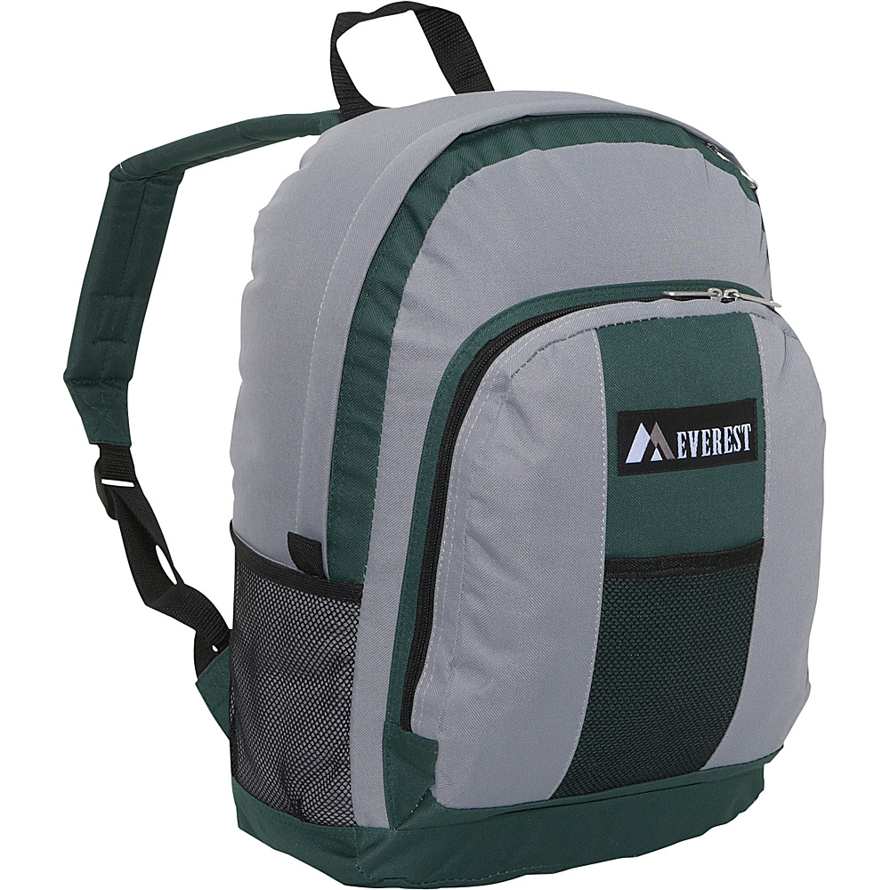 Everest Backpack with Front & Side Pockets - Green/Gray - Backpacks, Everyday Backpacks
