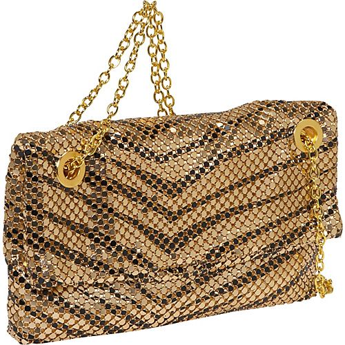 Savanna Animal Print Fold Over Metal Mesh Bag - Shoulder Bag