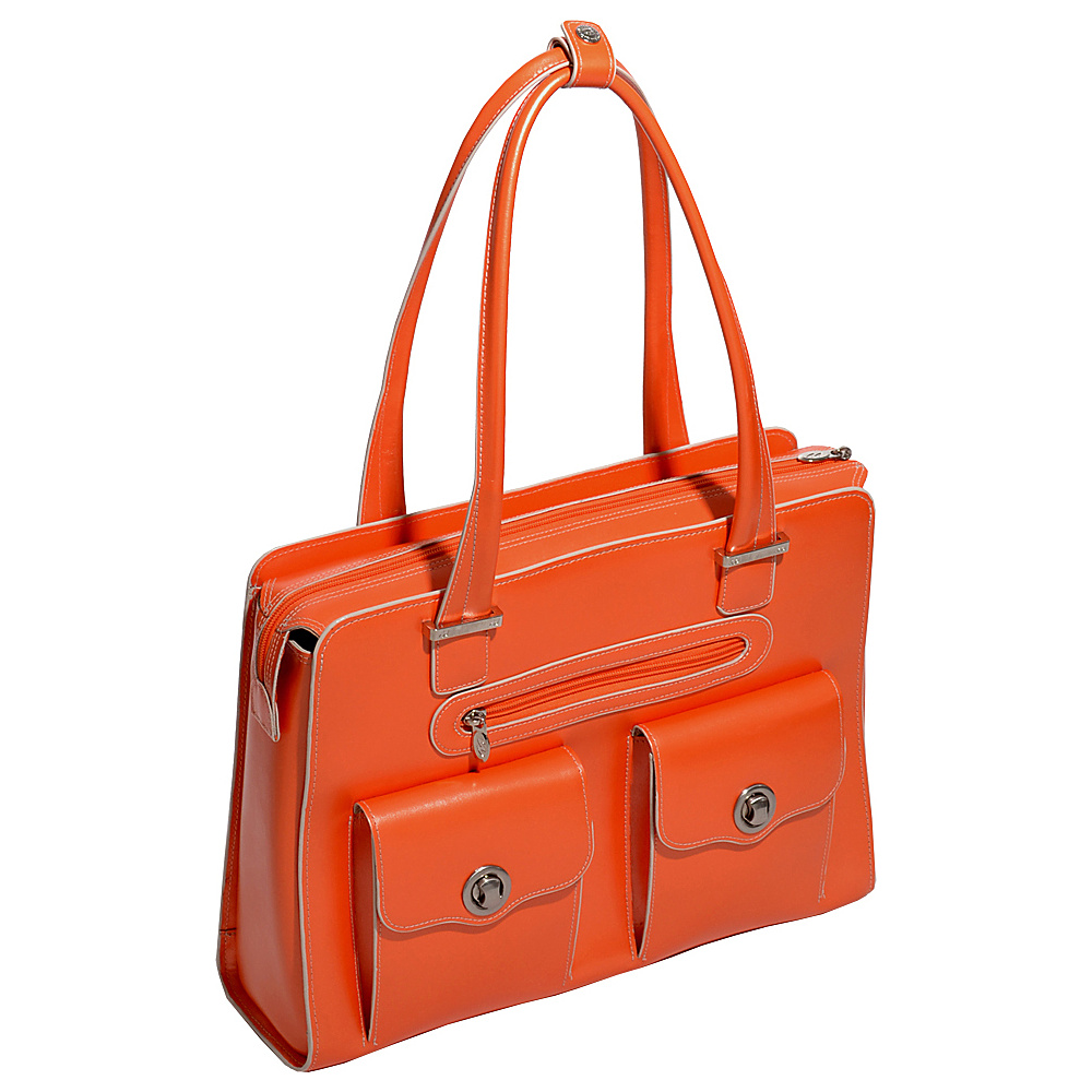 McKlein USA Verona 15 Ladies Fly-Through Checkpoint-Friendly Laptop Briefcase Orange - McKlein USA Womens Business Bags - Work Bags & Briefcases, Women's Business Bags