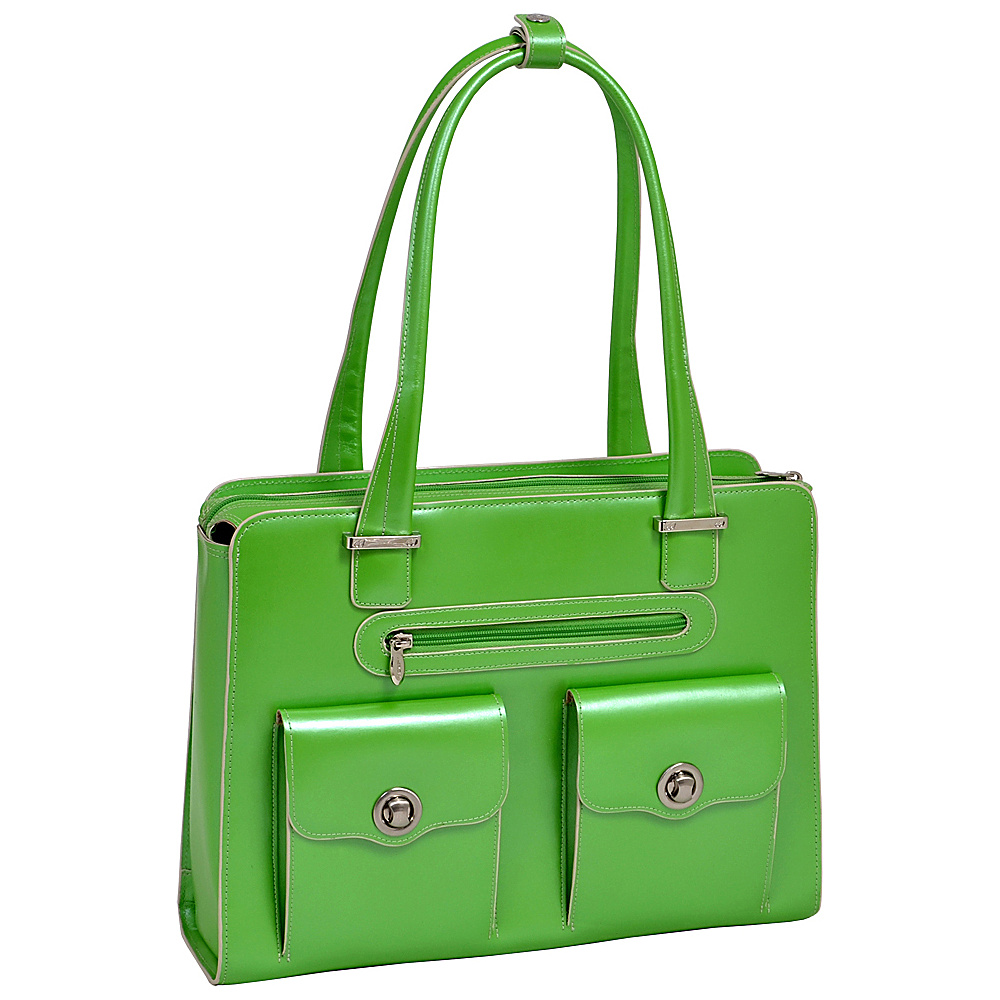McKlein USA Verona 15 Ladies Fly-Through Checkpoint-Friendly Laptop Briefcase Green - McKlein USA Womens Business Bags - Work Bags & Briefcases, Women's Business Bags