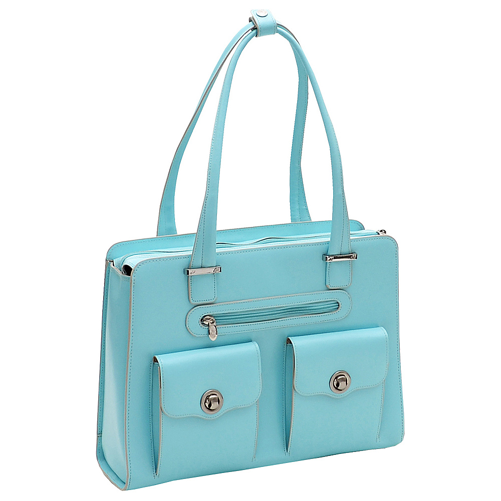 McKlein USA Verona 15 Ladies Fly-Through Checkpoint-Friendly Laptop Briefcase Aqua Blue - McKlein USA Womens Business Bags - Work Bags & Briefcases, Women's Business Bags
