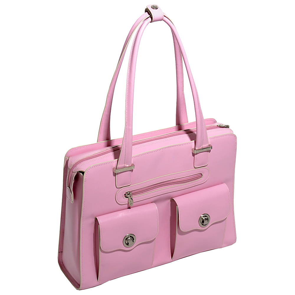 McKlein USA Verona 15 Ladies Fly-Through Checkpoint-Friendly Laptop Briefcase Pink - McKlein USA Womens Business Bags - Work Bags & Briefcases, Women's Business Bags