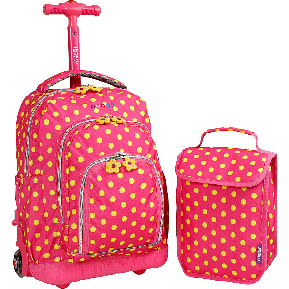 J World New York Lollipop Kids Rolling Backpack with Lunch Bag (Kids ages 3-7) Pink Buttons - J World New York Rolling Backpacks - Backpacks, Rolling Backpacks