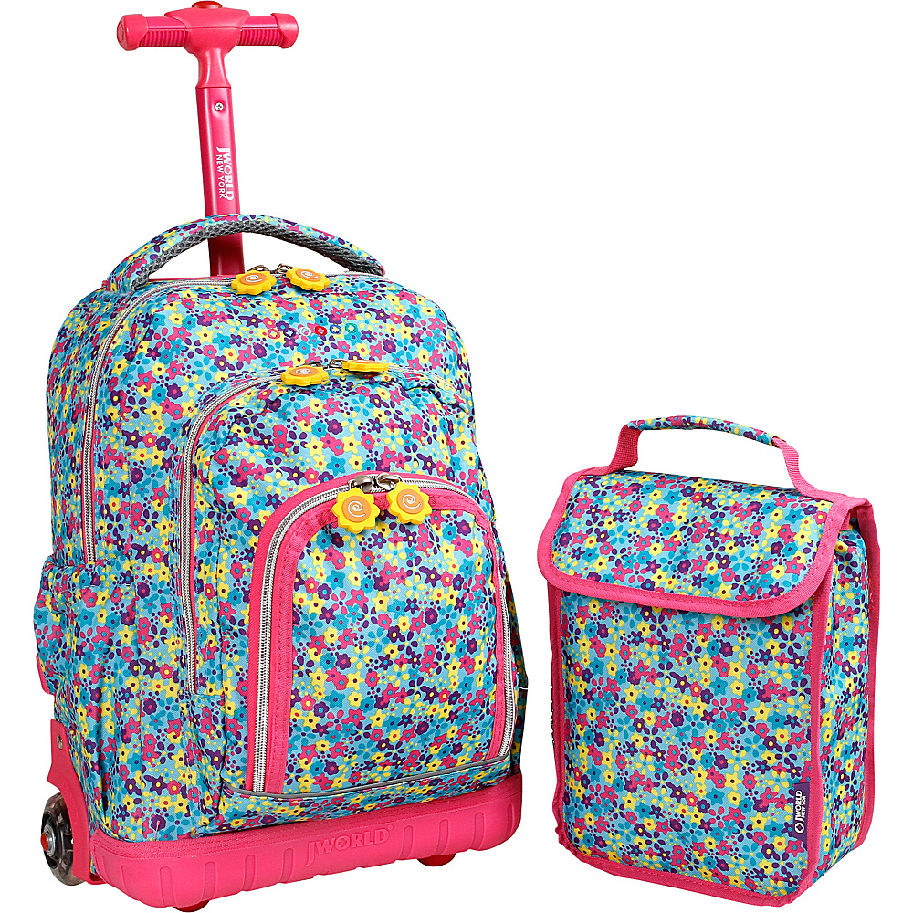 J World New York Lollipop Kids Rolling Backpack with Lunch Bag (Kids ages 3-7) Floret - J World New York Rolling Backpacks - Backpacks, Rolling Backpacks