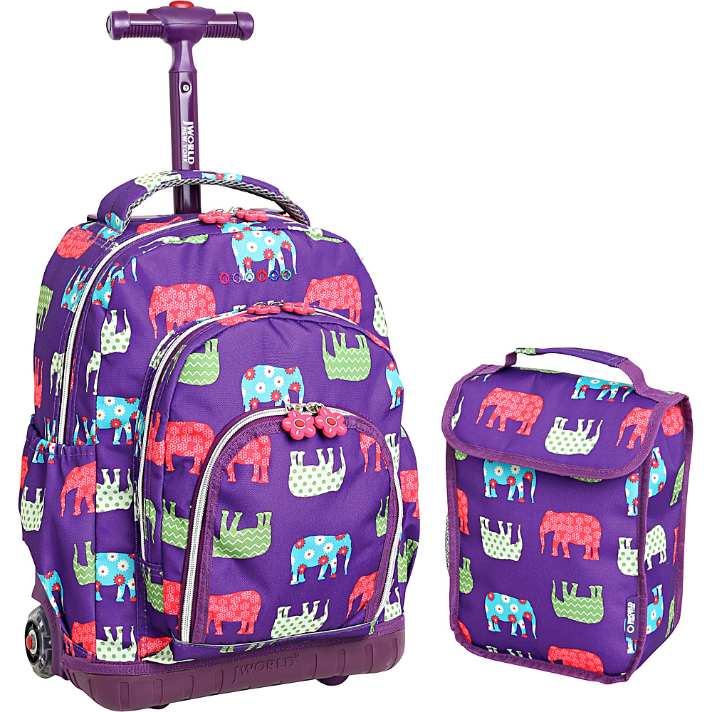 J World New York Lollipop Kids Rolling Backpack with Lunch Bag (Kids ages 3-7) Elephant - J World New York Rolling Backpacks - Backpacks, Rolling Backpacks