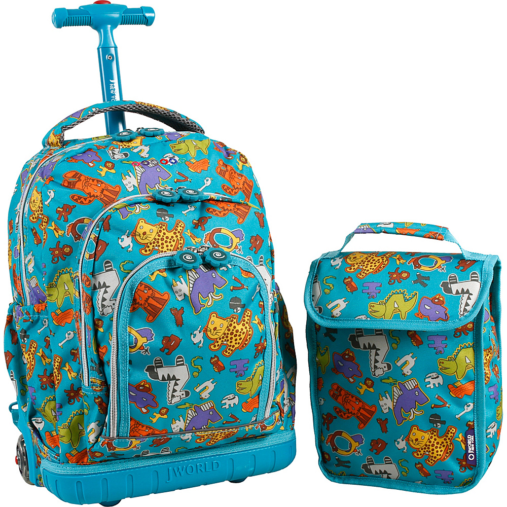 J World New York Lollipop Kids Rolling Backpack with Lunch Bag (Kids ages 3-7) Aniphabets - J World New York Rolling Backpacks - Backpacks, Rolling Backpacks