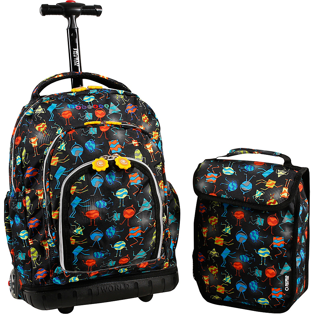 J World New York Lollipop Kids Rolling Backpack with Lunch Bag (Kids ages 3-7) Party Mobs - J World New York Rolling Backpacks - Backpacks, Rolling Backpacks
