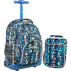 Lollipop Kids Rolling Backpack with Lunch Bag (Kids ages 3-7) Squares Blue