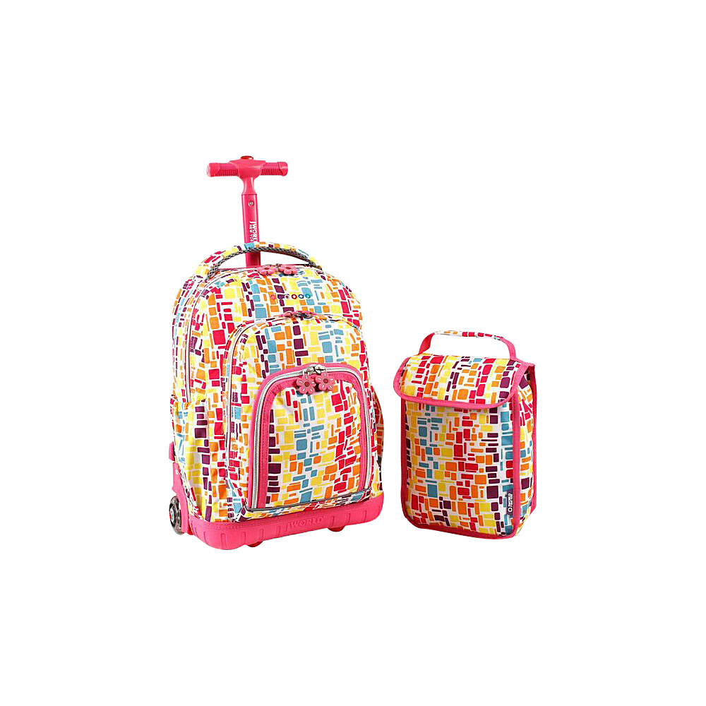 J World New York Lollipop Kids Rolling Backpack with Lunch Bag (Kids ages 3-7) Squares Neon - J World New York Rolling Backpacks
