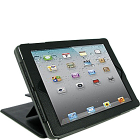 Convertible Leather Folio Case for New iPad & iPad 2 Black