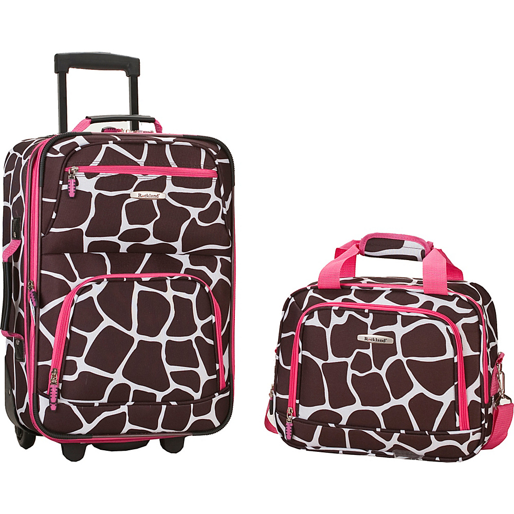 Rockland Luggage Rio 2 Piece Carry On Luggage Set Pink Giraffe - Rockland Luggage Luggage Sets - Luggage, Luggage Sets