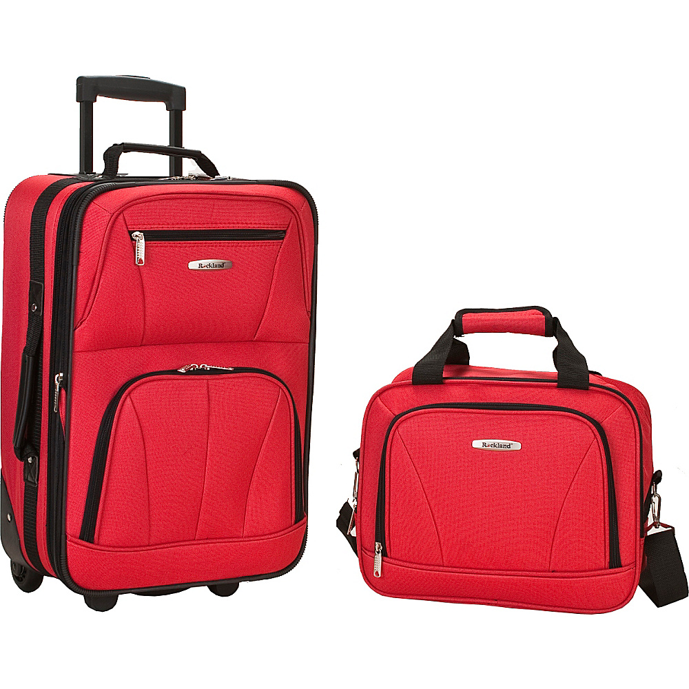 Rockland Luggage Rio 2 Piece Carry On Luggage Set - Red
