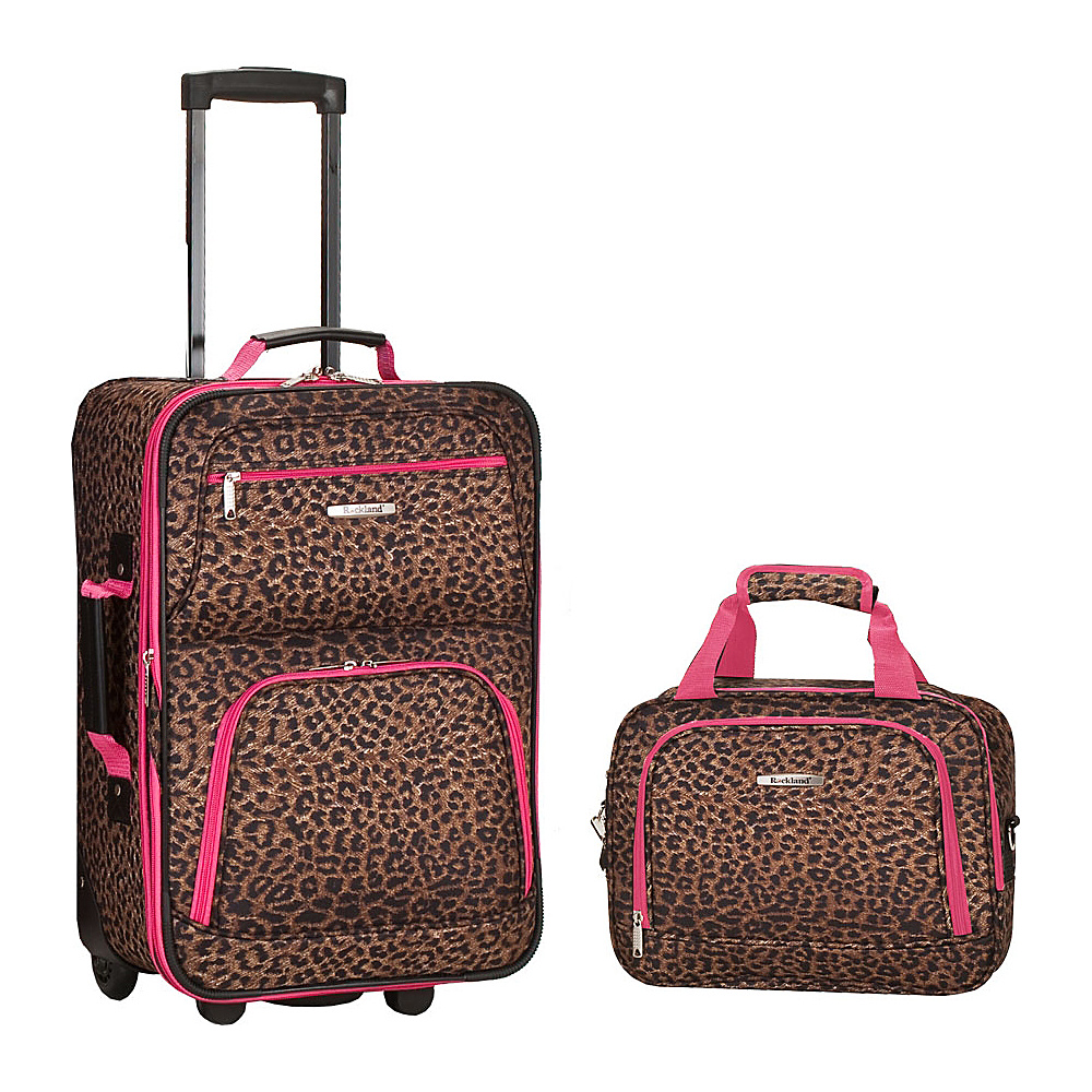 Rockland Luggage Rio 2 Piece Carry On Luggage Set Pink Leopard - Rockland Luggage Luggage Sets