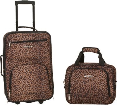 Rockland Luggage Rio 2 Piece Carry On Luggage Set Leopard - Rockland Luggage Luggage Sets