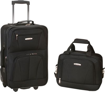 Rockland Luggage Rio 2 Piece Carry On Luggage Set Black - Rockland Luggage Luggage Sets