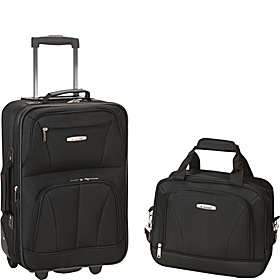 Rio 2 Piece Carry On Luggage Set Black