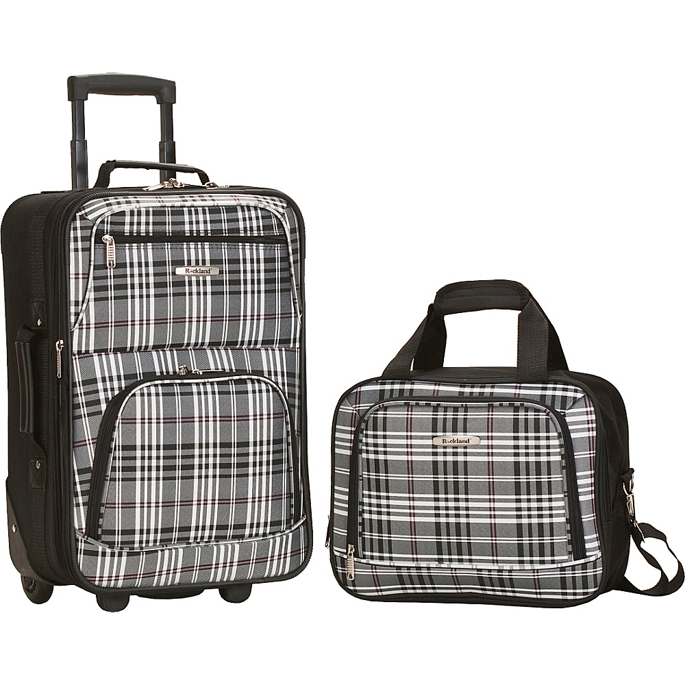 Rockland Luggage Rio 2 Piece Carry On Luggage Set Black Cross - Rockland Luggage Luggage Sets