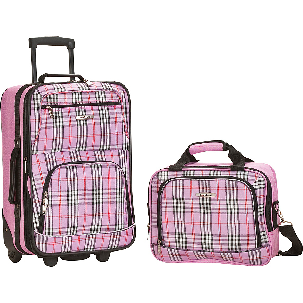 Rockland Luggage Rio 2 Piece Carry On Luggage Set Pink Cross - Rockland Luggage Luggage Sets